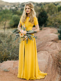 Bright Yellow Short Sleeve Front Slit Sheath Long Bridesmaid Dresses ,PB1068