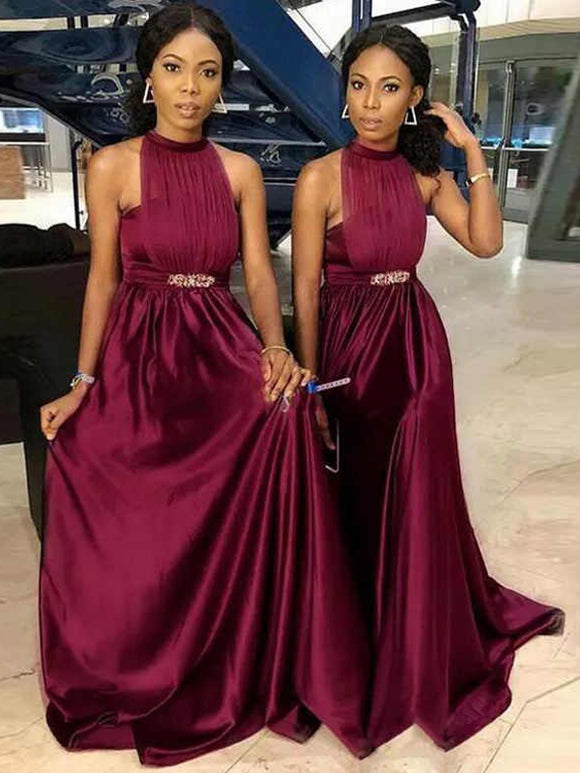 Burgundy Halter Sleeveless A-line Sounth Aferica Long Bridesmaid Dresses,PB1056