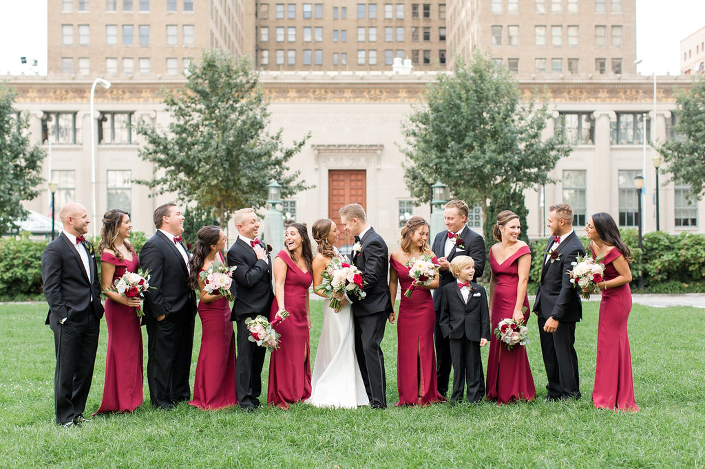 Burgundy Off Shoulder Criss-cross Back Sheath Bridesmaid Dresses,PB1049