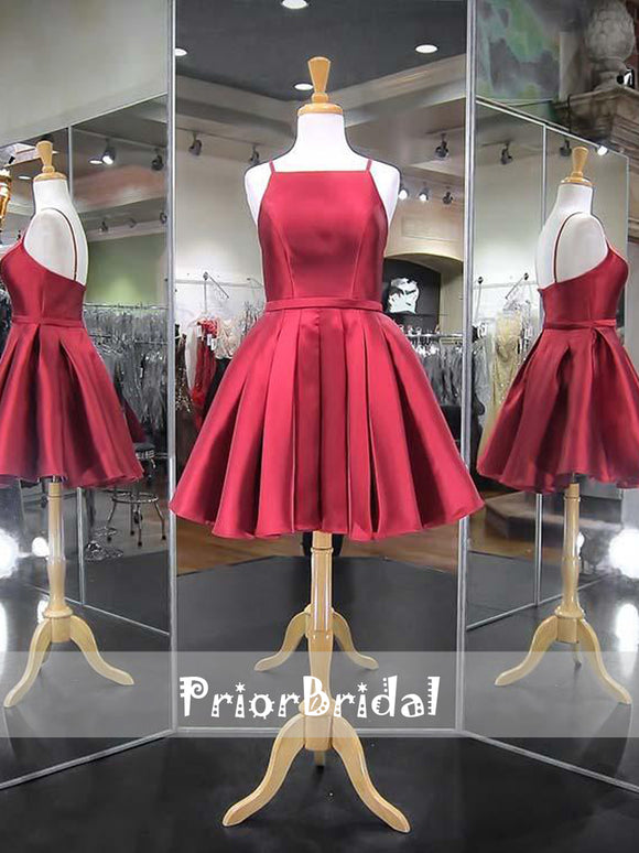 Burgundy Simple Cheap Spaghetti Straps Junior Homecoming Dresses, BD00207