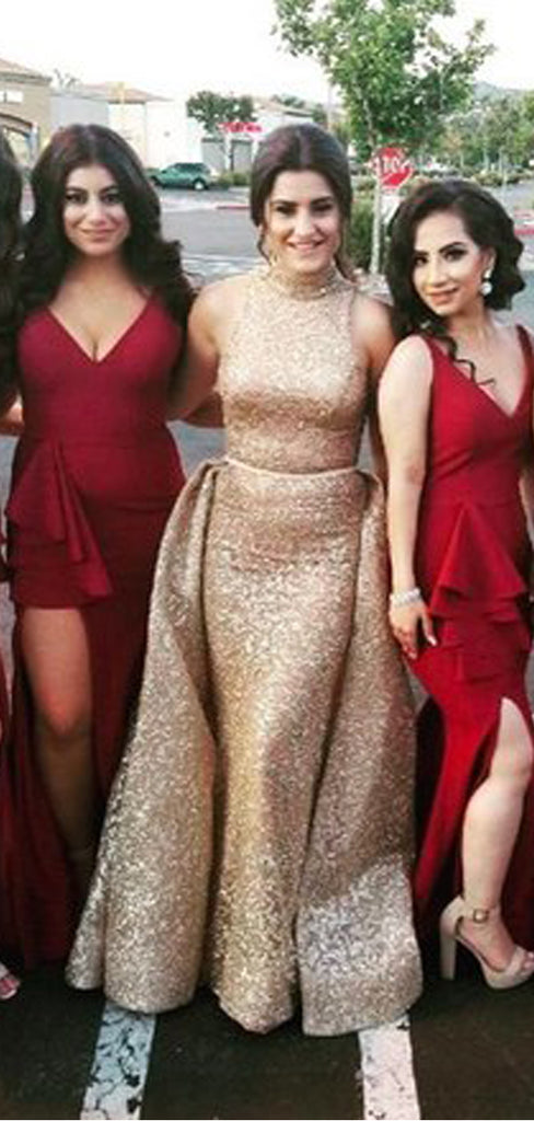 Burgundy Sleeveless V-neck Mermaid Side Slit With Train Long Bridesmaid Dresses,PB1079