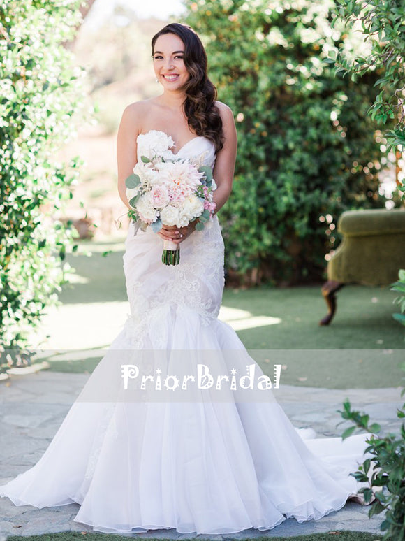 Charming Sweetheart Strapless Pleating Chiffon Appliques Mermaid Wedding Dresses. RG0417