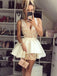 Convertible Nude Ivory Lace Sheath V-neck Homecoming Party Dresses, BD00224