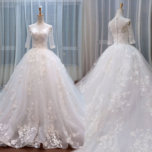Cute Princess Appliques Beaded With Sleeves Ball Gown  Wedding Dress.  WD0171