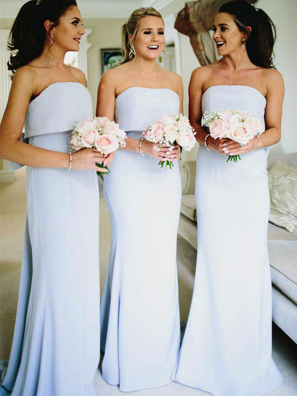 Grey Strapless Mermaid With Bow Knot Train Long Bridesmaid Dresses ,PB1075