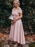 Dusty Pink Jersey Off Shoulder High Low Ankle Length Bridesmaid Dresses ,PB1055