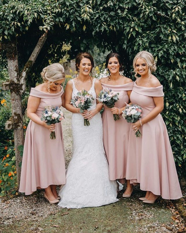 4a115cc627933 ... Dusty Pink Jersey Off Shoulder High Low Ankle Length Bridesmaid Dresses  ,PB1055 ...