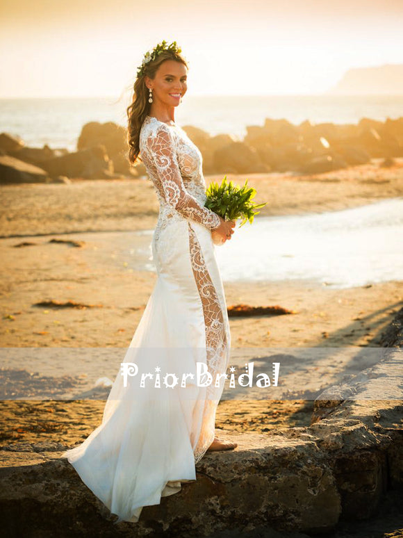 Fashion See Through Lace Deep V-neck Charming Beach Wedding Dresses. RG0413