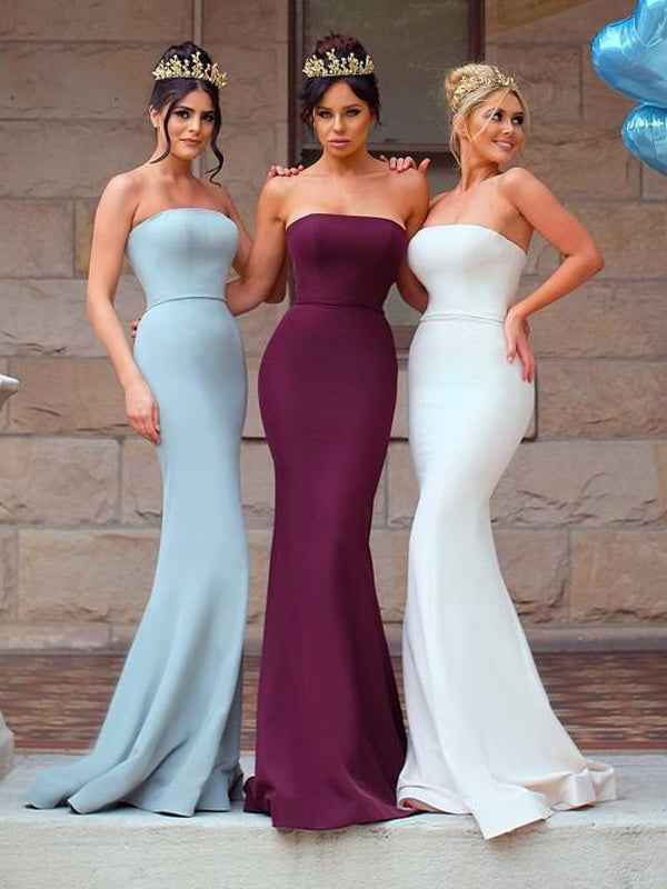 Fashion Strapless Mermaid Simple Cheap Long Elegant Bridesmaid Dresses,PB1077