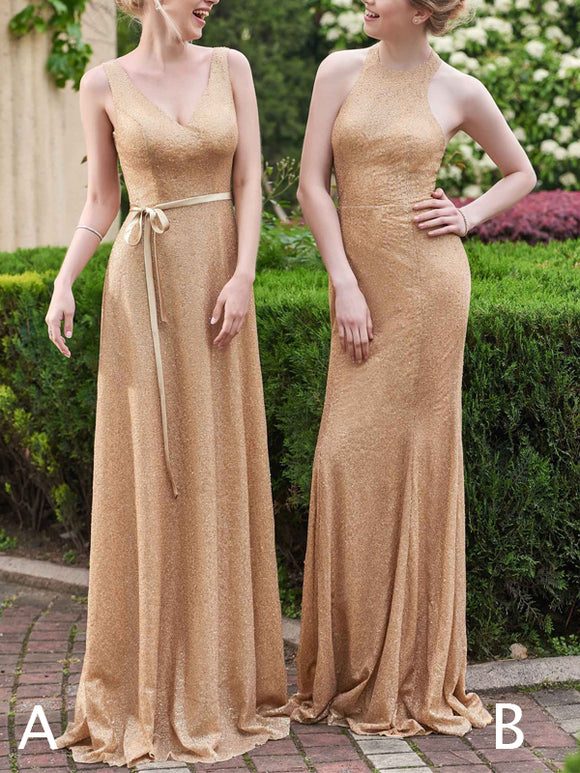 Gold Sequin Mismatched Sheath Sleeveless Long Bridesmaid Dresses,PB1063