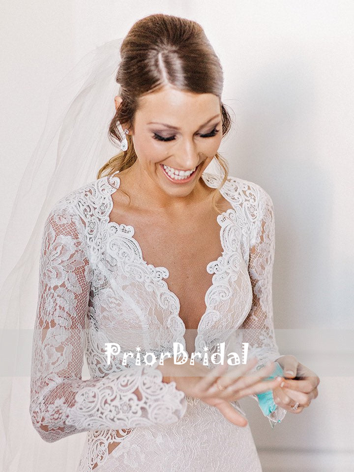 Gorgeous Vintage Lace Deep V-neck Keyhole Open Back Mermaid Wedding Dresses With Long Sleeves, RG0421