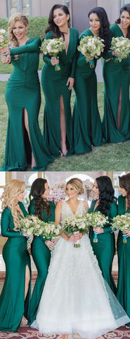 products/Green_Jersey_Long_Sleeve_V-neck_Slit_Bridesmaid_Dresses_PB1053-2.jpg