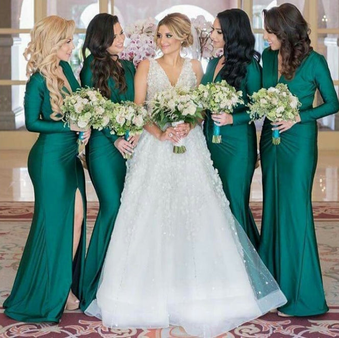 Green Jersey Long Sleeve V-neck Slit Bridesmaid Dresses,PB1053