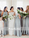 Grey Chiffon Jewel Neck Sleeveless Elegant Long Bridesmaid Dresses,PB1045