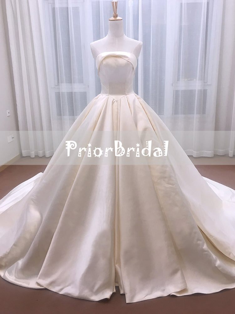 Hot Romantic Simple Strapless Lace Up Back Ball Gown Princess Wedding Dresses. RG0193