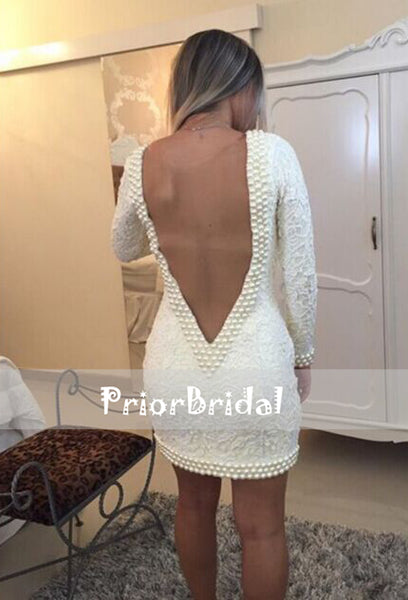 Ivory Lace Beads V-neck Long Sleeves Tight Sheath Party Homecoming Dresses, BD00213
