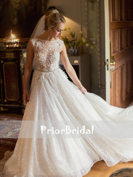 Ivory See Through Lace Top Sequin Bottom Backless Wedding Dresses, RG0420