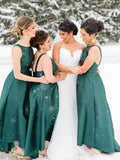 Jade Satin High Low Sleeveless Ankle Length Bridesmaid Dresses,PB1052