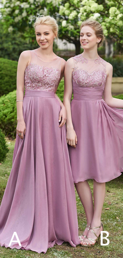 Light Purple Chiffon Lace Mismatched A-ine Bridesmaid Dresses,PB1064