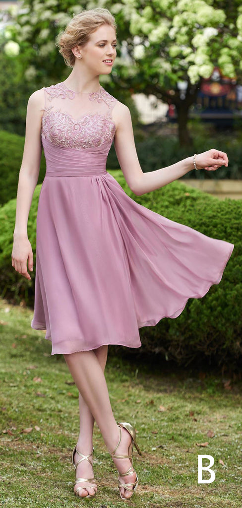 Light Purple Chiffon Lace Short A-ine Bridesmaid Dresses,PB1065