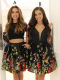 Mismatched Black Floral Prints Satin Fashion Homecoming Dresses  , BD00223