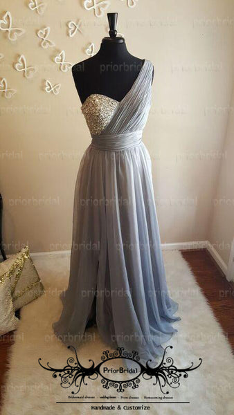 Mismatched Silver Sequin Beaded Top Sweetheart A-line Bridesmaid Dresses,PB1030
