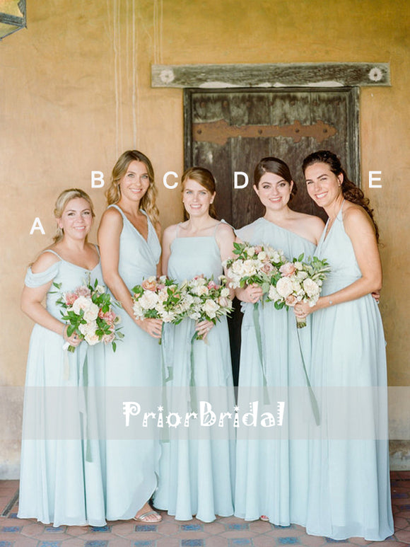 Mismatched Tiffany Blue Chiffon Long Simple Bridesmaid Dresses,PB1042
