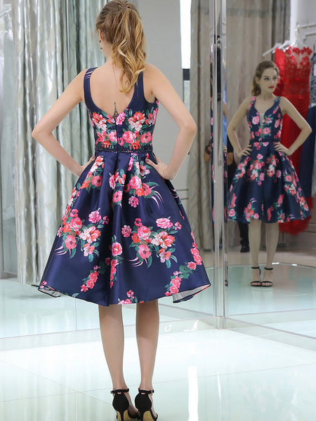 Navy Satin Red Floral Prints Homecoming Dresses, BD00233