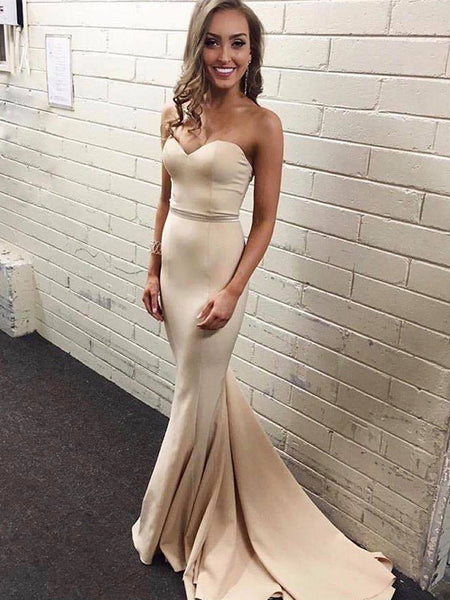 Nude Sweetheart Strapless Mermaid Sexy Formal Prom Dresses ,PB1072