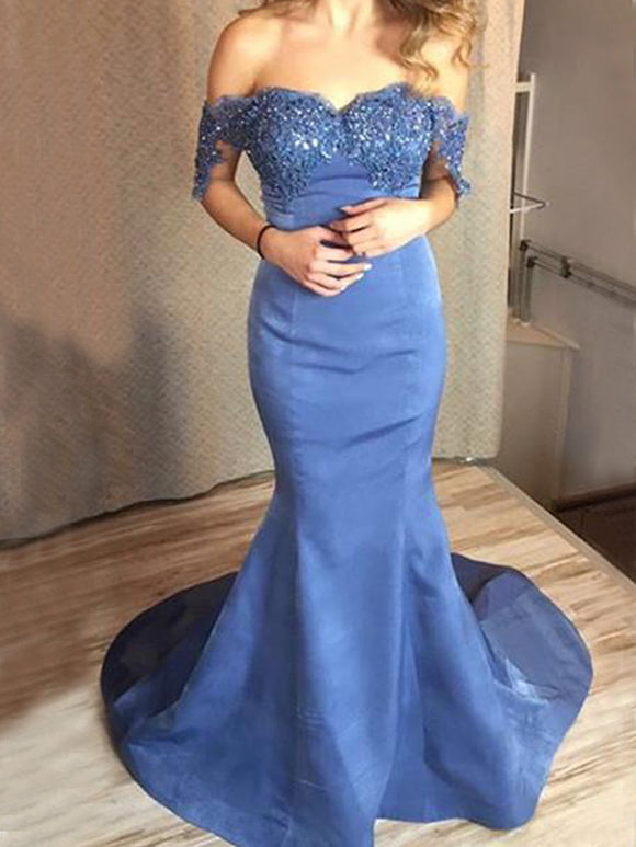 Off Shoulder Lace Mermaid Blue Elegant Prom Dresses,PB1077