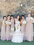 One Shoulder Chiffon Simple Cheap Long Bridesmaid Dresses,PB1040