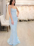 Pale Blue Sequin Spaghetti Strap Mermaid Backless Prom Dresses,PB1079