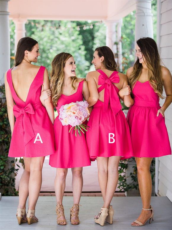 Pink Satin Mismatched Bowknot Sweet Short Bridesmaid Dresses,PB1083