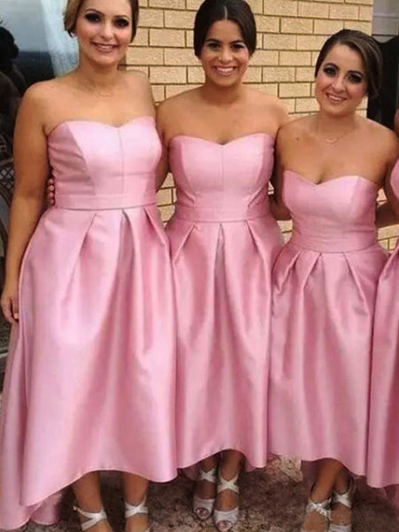 Pink Satin Sweetheart Strapless High Low Sweet Bridesmaid Dresses,PB1081