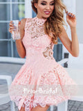 Pink See Through Lace Charming Back Unique Mini Homecoming Dresses, BD00209