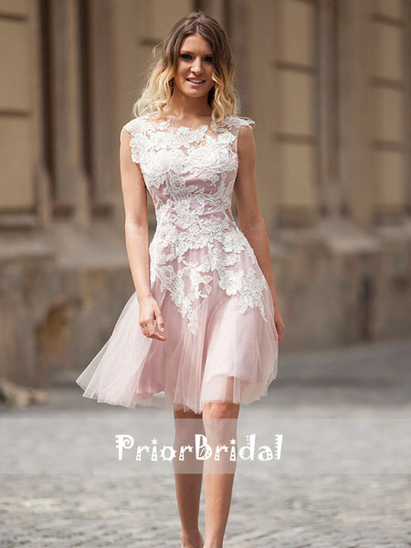 Pink Tulle Ivory Lace Simple Junior Homecoming Dresses, BD00214