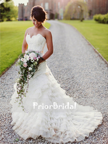 products/Popular_Ivory_Lace_Strapless_Pleating_Chiffon_Tiered_Mermaid_Wedding_Dresses_RG0423-1.jpg