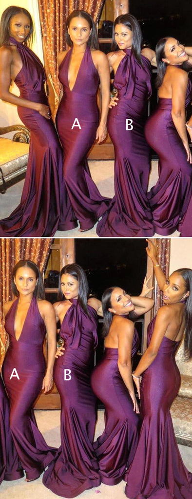 Purple Jersey Mismatched Mermaid Sexy Long Bridesmaid Dresses,PB1048