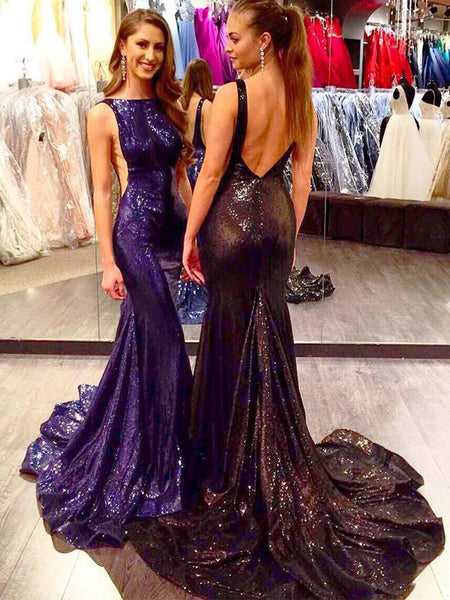 Purple Sequin Mermaid Backless Long Sexy Prom Dresses,PB1076