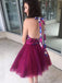 Purple Tulle Floral Prints Halter Backless Homecoming Dresses, BD00236