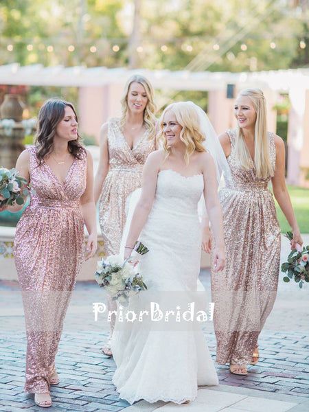 Rose Gold Sequin V-neck Sheath Sleeveless Bridesmaid Dresses,PB1038