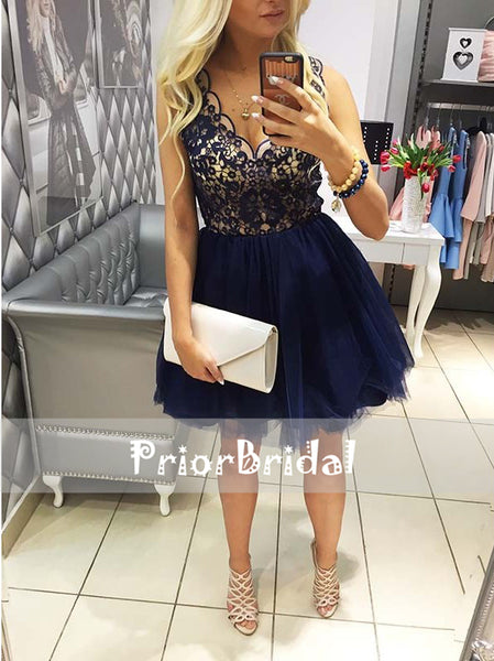 Royal Blue Lace Top Tulle Sleeveless V-neck Homecoming Dresses, BD00221