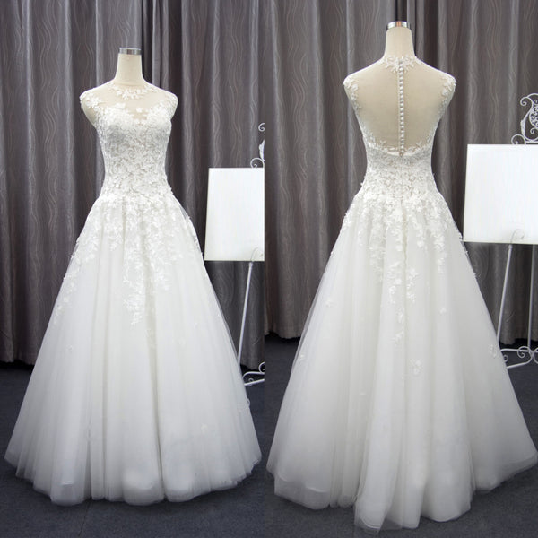 See Through Neckline Lace Tulle A-line Floor Length  Wedding Dress. RG0400