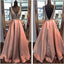 Silver Beading Soft Satin Sleeveless Formal Prom Dresses,PB1063