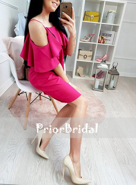 Simple Pink Off Shoulder Spaghetti Straps Homecoming Dresses, BD00218