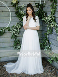 Simple lace Top Chiffon Beach Wedding Dresses With Half Sleeves. RG0416