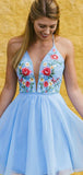 Sky Blue Chiffon Embroidery Lace Up Back Homecoming Dresses , BD00235