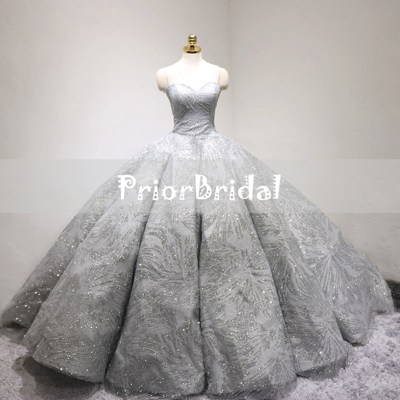 Sparkly Light Grey Silver Sequin Princess Ball Gown Gorgeous Wedding ...