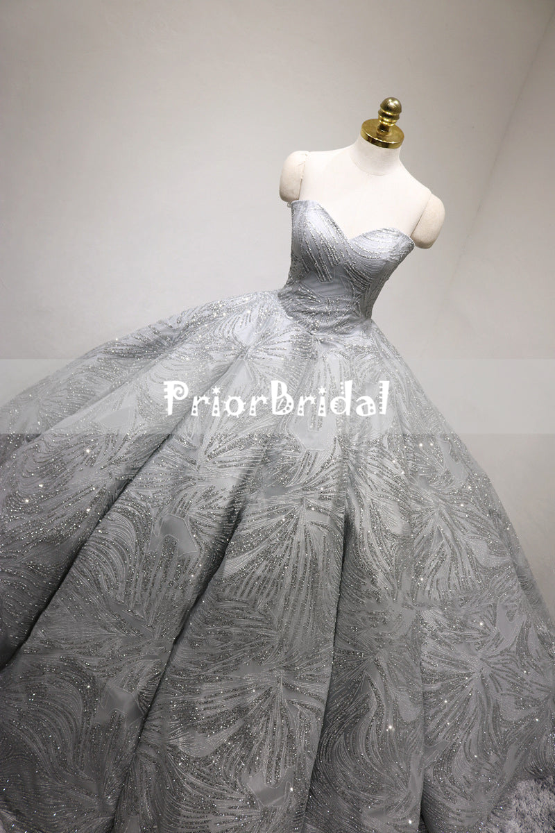 Sparkly Light Grey Silver Sequin Princess Ball Gown Gorgeous Wedding