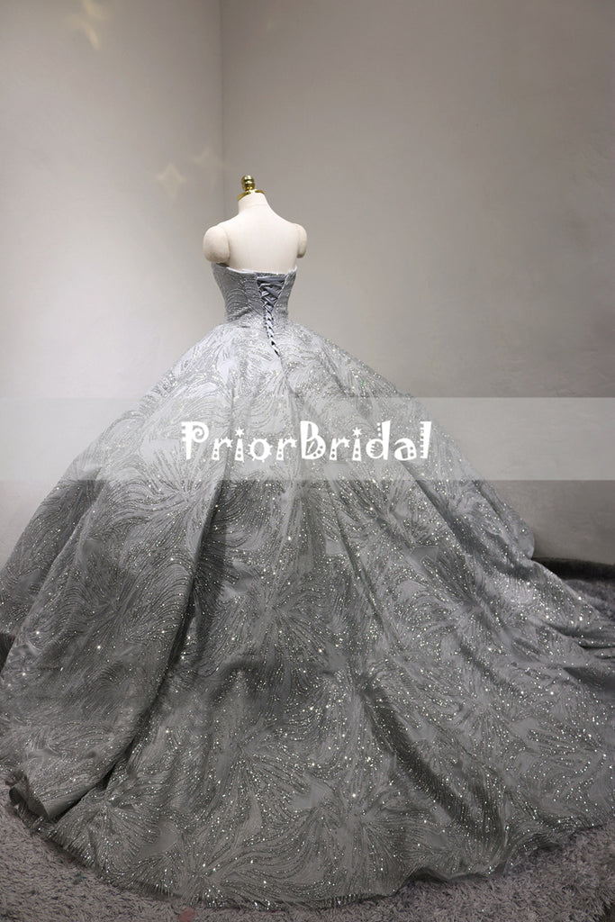 Sparkly Light Grey Silver Sequin Princess Ball Gown Gorgeous